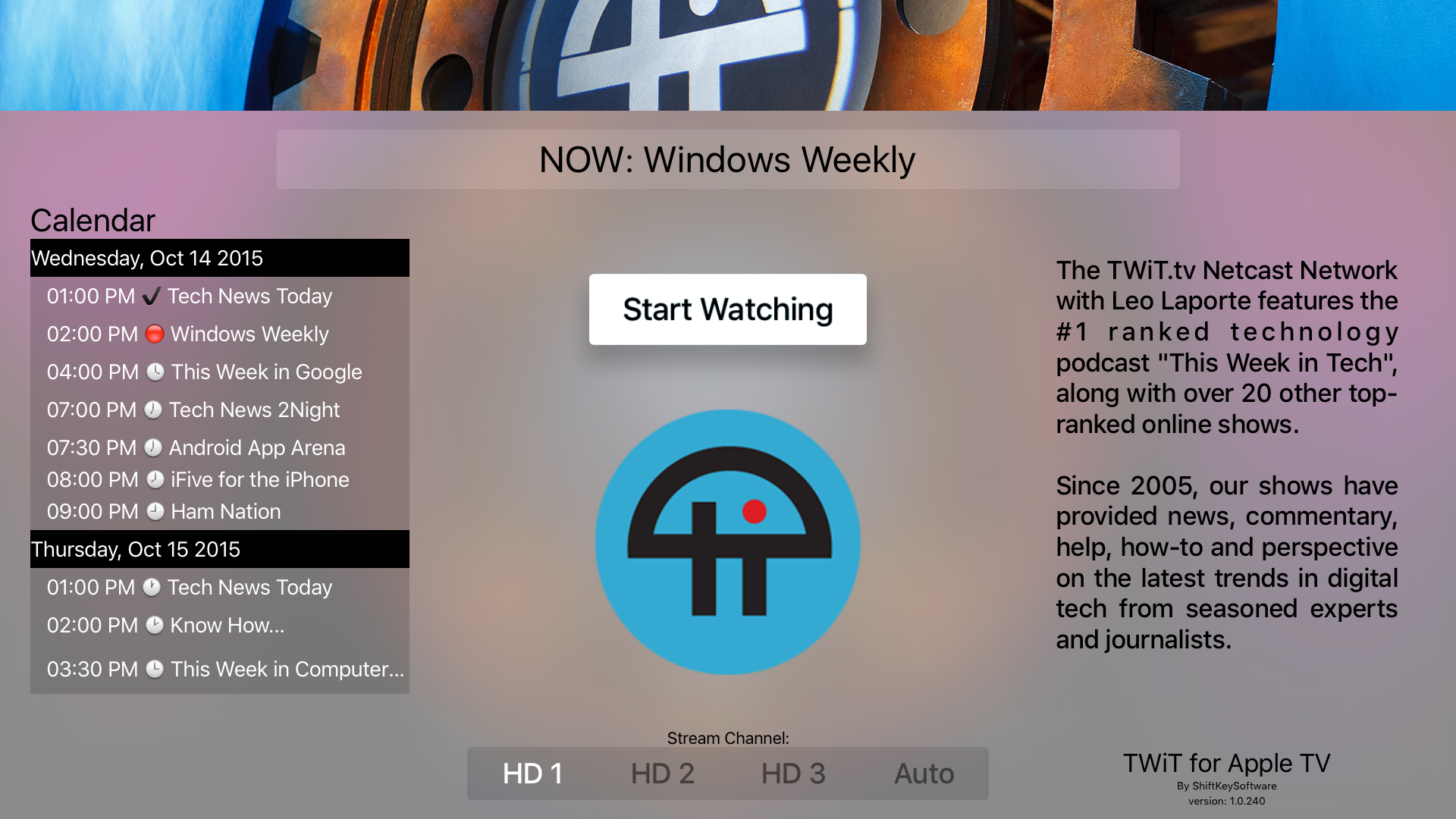 TWiTtv Apple TV app by ShiftKeySoftware