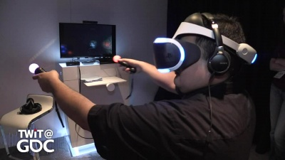 Fr. Robert Ballecer and Chad Johnson try out Sony's PlayStation VR at the Game Developers Conference 2016 in San Francisco.