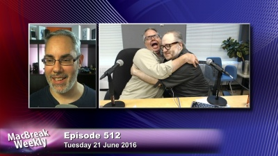 Rene Ritchie witnesses Alex Lindsay and Andy Ihnatko hugging.