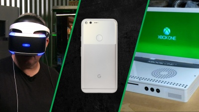 PlayStation VR review, Google Pixel phone, and the Xbook One S maker.