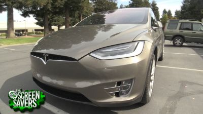 Leo Laporte and Florence Ion take a drive in Leo's Tesla Model X