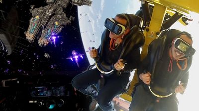 We try a virtual realty roller coaster at Six Flags Discovery Kingdom.