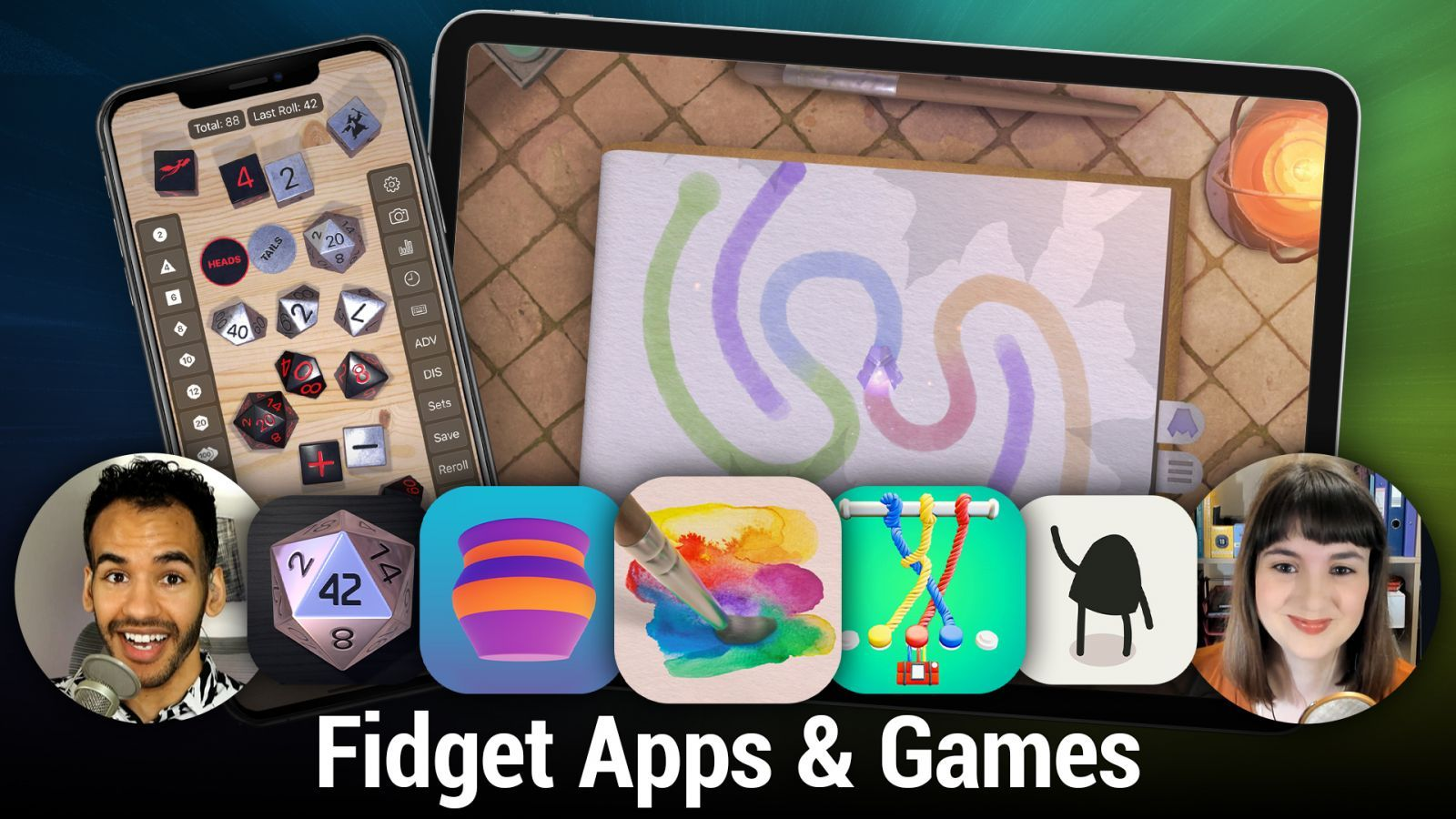iOS 539: Fidget Apps & Games - Dice by PCalc, Super Balls, Empty., Patterned, fidget: calm and clear
